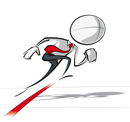 Sparse vector illustration of a of a generic Business cartoon character starting a race. Vector
