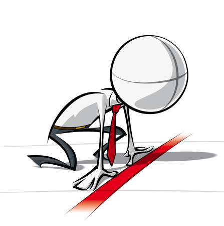 Ilustración vectorial minimalista de un de un personaje de dibujos animados de negocios genérico listo para comenzar en un proyecto.