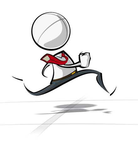 sales manager: Sparse vector illustration of a of a generic Business cartoon character racing.