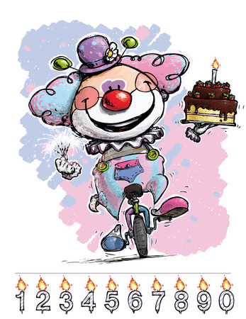 unicycle: Cartoon-Artistic illustration of a Clown on Unicycle Carrying a Babys Birthday Cake