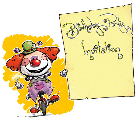 unicycle: Cartoon-Artistic illustration of a Clown on Unicle Holding a Birthday Party Invitation. Illustration