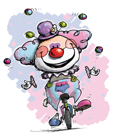 unicycle: Cartoon-Artistic illustration of a Clown on Unicle Juggling - Baby Colors