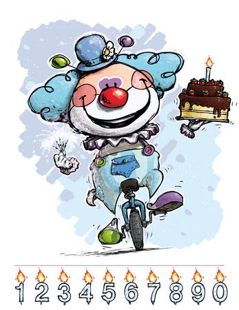 Cartoon-Artistic illustration of a Clown on Unicycle Carrying a Boys Birthday Cake Vector
