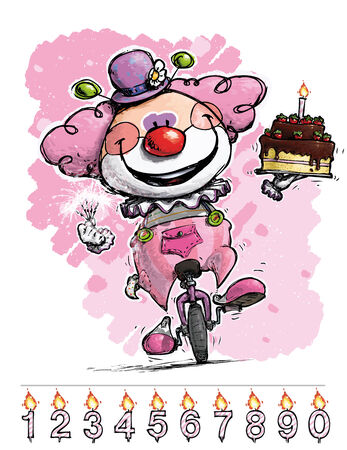 birthday hat: Cartoon-Artistic illustration of a Clown on Unicycle Carrying a Girls Birthday Cake Illustration