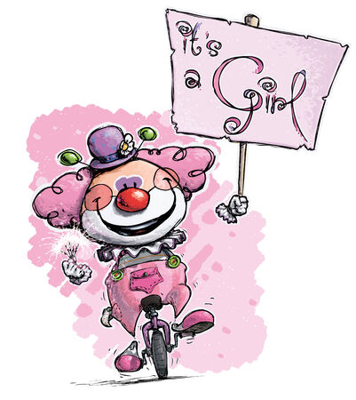 its a girl: Cartoon-Artistic illustration of a Clown on Unicycle Hoding an Its a Girl Plackard Illustration