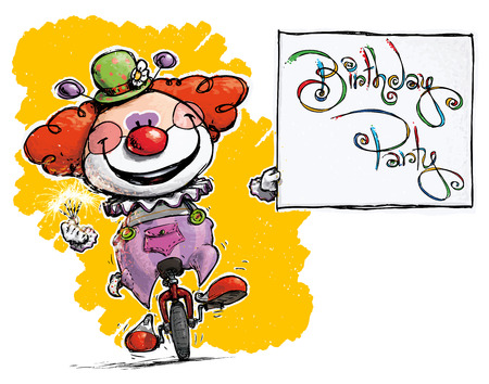 unicycle: Cartoon-Artistic illustration of a Clown on Unicycle Holding a Birthday Party Card
