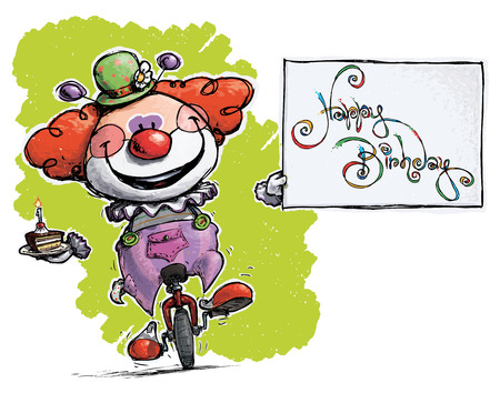 Cartoon-Artistic illustration of a Clown on Unicycle Holding a Happy Birthday Card  Vector
