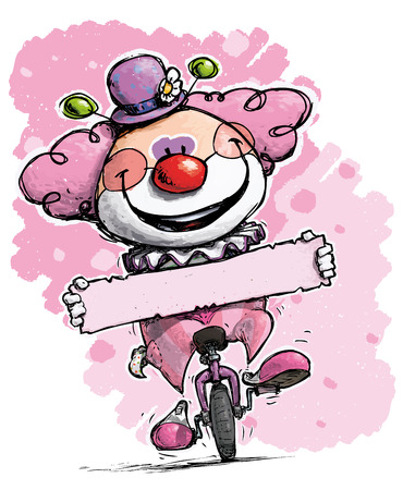 unicycle: Cartoon-Artistic illustration of a Clown on Unicycle Holding a Label - Girl Colors