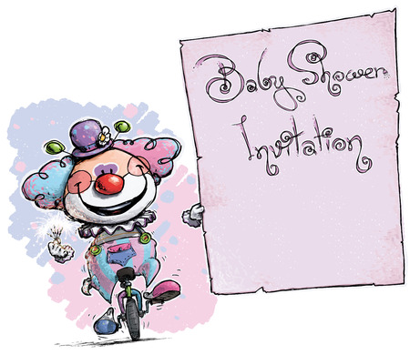 Cartoon-Artistic illustration of a Clown on Unicle Holding a Baby Shower Invitation. Vector