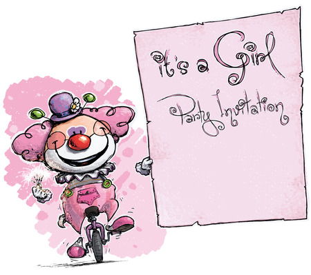 its a girl: Cartoon-Artistic illustration of a Clown on Unicle Holding an Its a Boy Party Invitation