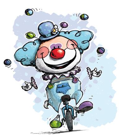 nose cartoon: Cartoon-Artistic illustration of a Clown on Unicle Juggling - Boy Colors Illustration