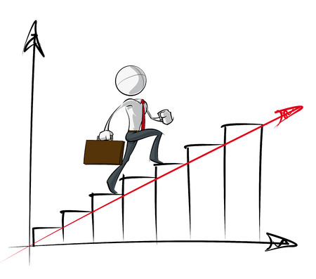steadily: Sparse vector illustration of a of a generic Business cartoon character climbing up an steadily growth chart. Illustration