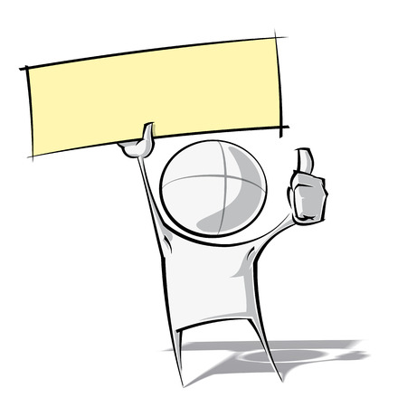 Sparse vector illustration of a of a generic cartoon character thumbs up, holding up a label. Vector