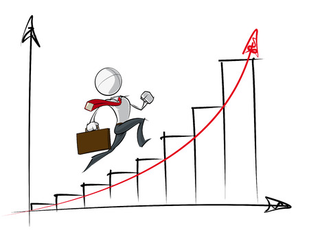 Sparse vector illustration of a of a generic Business cartoon character running up an exponential growth chart. Vector