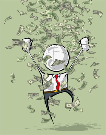 falling money: Sparse vector illustration of a of a generic Business cartoon character celebrating under money rain.
