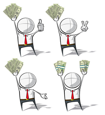 Set of 4 sparse vector illustrations of a generic Business cartoon character holding up stacks of money. Vector
