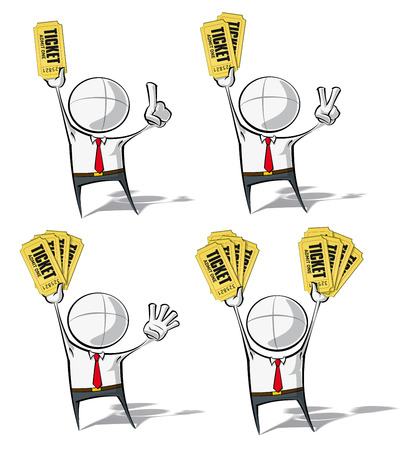 double entry: Set of 4 sparse vector illustrations of a generic Business cartoon character holding up stacks of tickets. Illustration