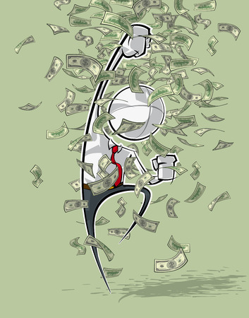 money rain: Sparse vector illustration of a of a generic Business cartoon character shouting YES under money rain.