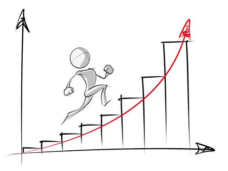 Spaarzame vector illustratie van een van een generieke stripfiguur tot een exponentiële groeicurve.