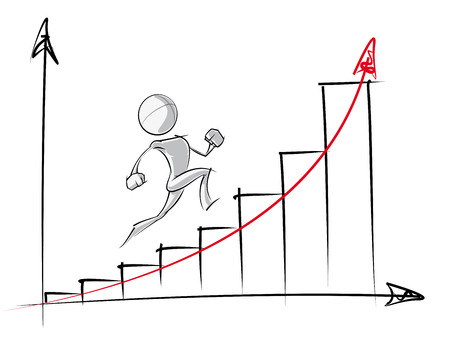 Sparse illustration vectorielle d'un d'un personnage de dessin animé générique en place un tableau de la croissance exponentielle.