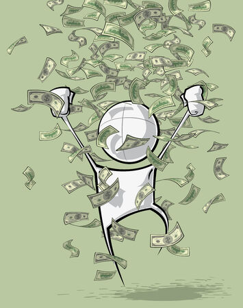 greenbacks: Sparse vector illustration of a of a generic cartoon character celebrating under money rain.