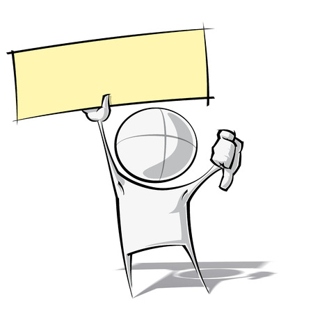 Sparse vector illustration of a of a generic cartoon character with thumbs down, holding up a label. Vector