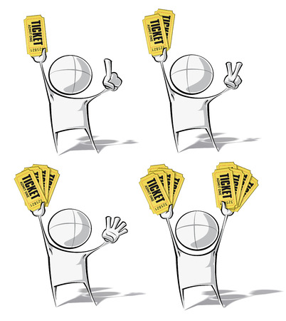 double entry: Set of 4 sparse vector illustrations of a of a generic cartoon character holding up stacks of tickets.