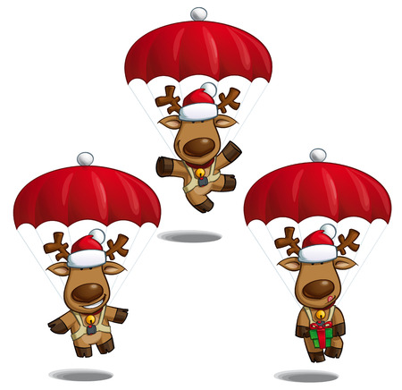 Set of cartoon illustrations of a Santas elk falling with parachute ready to land in three poses-themes. Each pose on separate layer. Illustration