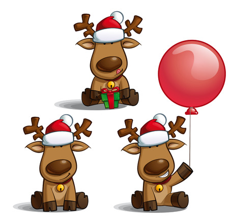 santa moose: Set of cartoon illustrations of a Santas elk sitting in three poses-themes. Each pose on separate layer.