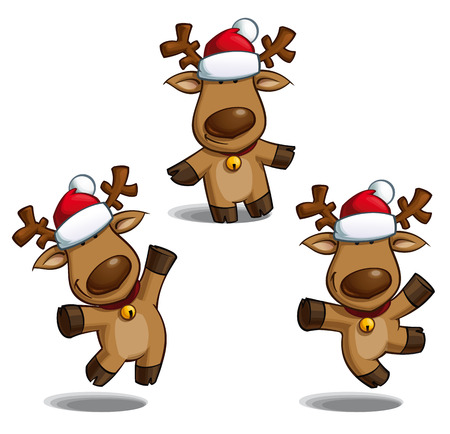 Set of cartoon illustrations of a Santa\'s elk in three poses-themes. Each pose on separate layer.