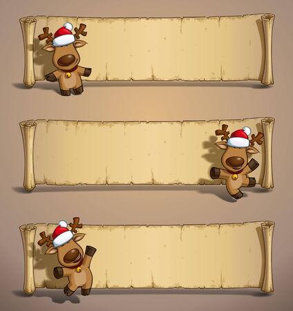 baile caricatura: Conjunto de tres ilustraciones de dibujos animados de los alces de un Santa que sostiene un regalo en tres poses-temas. Cada pose en la capa separada. Todos los colores de regalo están en el lugar en grupos separados para todas las poses. Vectores