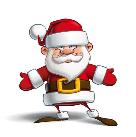 santa claus hats: Cartoon vector illustration of a happy Santa Claus welcoming with open arms.