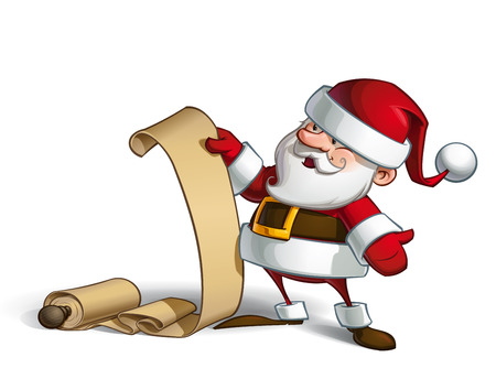 santa claus hats: Cartoon vector illustration of a smiling Santa Claus holding a scroll with the gift list.