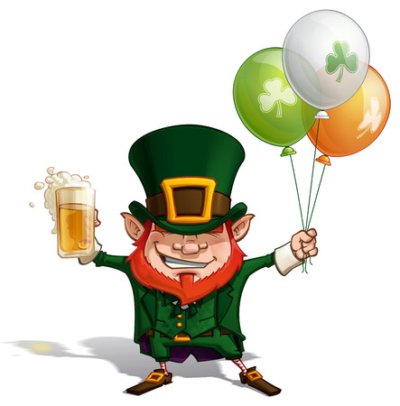 Vector Cartoon Illustration of St. Patrick cheering with a pint of beer, holding three helium balloons in Irish colors.