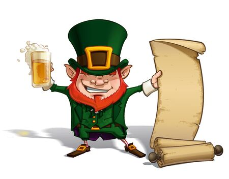 st patrick: Vector Cartoon Illustration of St. Patrick cheering with a pint of beer, holding an old scroll.