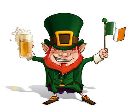 beer pint: Vector Cartoon Illustration of St. Patrick cheering with a pint of beer, holding a paper Irish Flag. Illustration