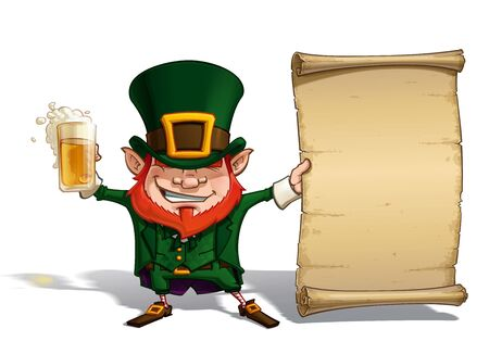 leprechaun: Vector Cartoon Illustration of St. Patrick cheering with a pint of beer, holding an old declaration-like papyrus