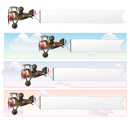 Set of a Vector cartoon illustrations of the British WWI fighter biplane Vickers flying with an aerial advertising banner.  The banner is in three sizes