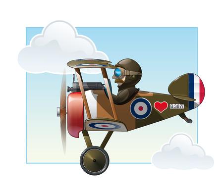 piloto de avion: Vector ilustración de dibujos animados de los británicos biplano de combate de WWI Vickers volar.