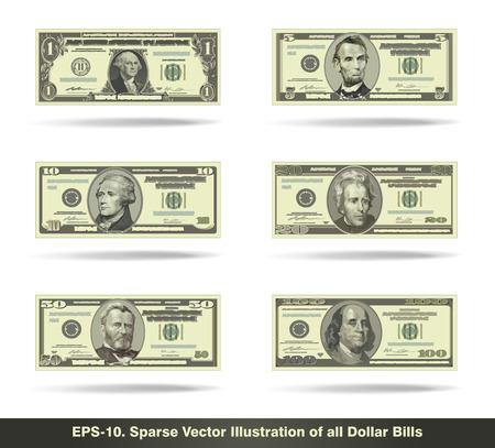 Ilustración vectorial Imagen minimalista de todos los billetes de dólar. EPS10 todos los iconos de signos y textos, excepto los números de valor son formas dispersas.