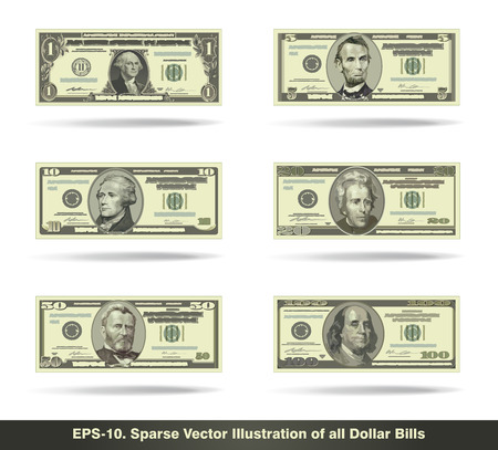 five dollar bill: Sparse vector illustration of all dollar bills. EPS10 all icons signs and texts except the value numbers are sparse shapes.