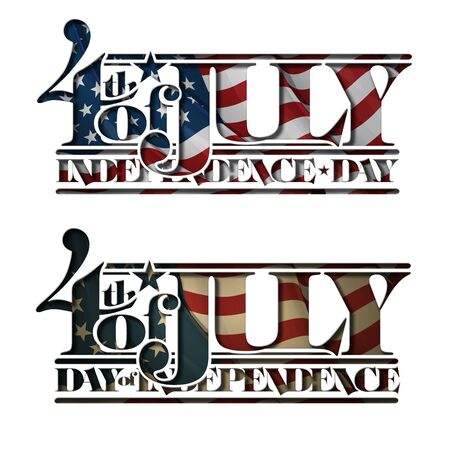 other keywords: Typographic art cutout with a waving American flag underneath. The Settle thickness on the cutout border follows the inner shadows light source.