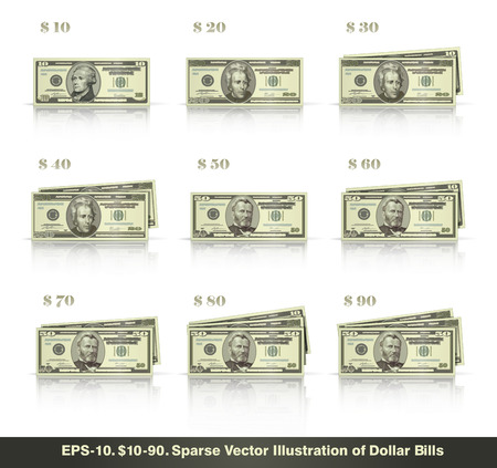 greenbacks: Sparse vector illustration of dollar bills presented in stacks of 10 to 90 dollars. EPS10 all icons signs and texts except the value numbers are sparse shapes. Illustration