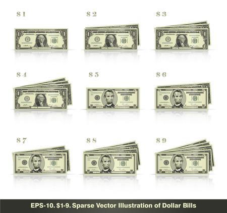 1-9 달러의 스택에서 제시하는 달러 지폐의 스파 스 벡터 일러스트 레이 션. EPS10 모든 아이콘 징후 및 값 번호 제외한 텍스트 희소 한 모양입니다. 일러스트