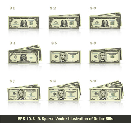 Sparse vector illustration of dollar bills presented in stacks of 1 to 9 dollars. EPS10 all icons signs and texts except the value numbers are sparse shapes.