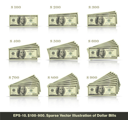 Sparse vector illustration of dollar bills presented in stacks of 100 to 900 dollars. EPS10 all icons signs and texts except the value numbers are sparse shapes.