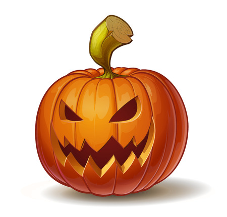 Cartoon vector illustration of a Jack-O-Lantern pumpkin curved in a scary expression, isolated on white. Neatly organized and easy to edit EPS-10 Illustration