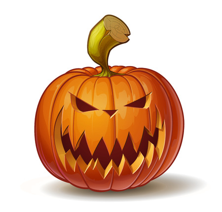 pumpkin carving: Cartoon vector illustration of a Jack-O-Lantern pumpkin curved in a scary expression, isolated on white. Neatly organized and easy to edit EPS-10 Illustration