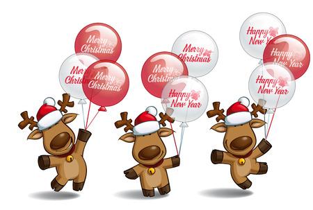 """baile caricatura: Conjunto de tres poses-temas de la ilustración de dibujos animados de un alce la Navidad que sostiene un manojo de globos que escriben """"Feliz Navidad"""" y """"Feliz Año Nuevo"""". Cada pose en la capa separada."""