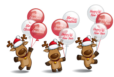 "three layer: Set of three poses-themes of a cartoon illustration of a Christmas elk holding a bunch of balloons writing ""Merry Christmas"" and ""Happy New Year"". Each pose on separate layer."